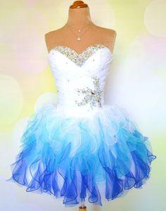 A-line Strapless White/Blue Short Prom Dresses, Homecoming Dresses – 24prom #prom #homecoming #promgown #dress #shortprom