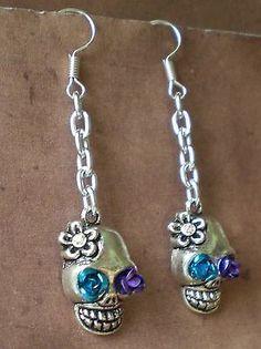 Sugar Skull Day of the Dead Calavera Flower Earrings Skull Jewelry Gothic
