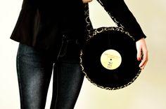 black circle vinyl purse