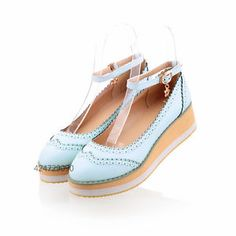 Women-Girl-Mid-Heel-Wedge-Platform-Shoes-Sandals-Ankle-Strap-Bowknot-Pumps-Z273