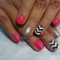By tina. Gel on natural nails with hand painted nail art! Chevron nails. Gel nails, gel manicure, gel mani nail designs. | Yelp