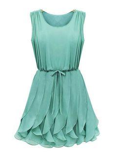 Ripple Flow Chiffon Cyan  Dress - Fashion