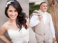 casual side by side pictures of the bride and groom