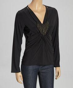 Look at this #zulilyfind! Black Side Ruched Necklace V-Neck Top - Women & Plus #zulilyfinds