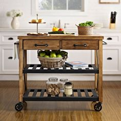 Bon Crosley Furniture Roots Rack Natural Industrial Kitchen Cart