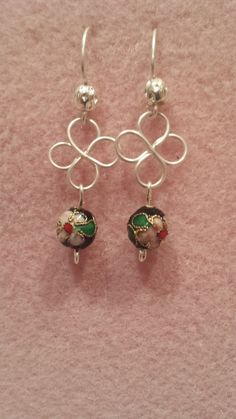 """Authentic Cloisonne 4mm or 8mm beads on wire Celtic flowers earrings. Limited quantities of each color. They dangle about 1 1/2"""" in your choice of wire and beads.  $14  #B002  JewelryArtbyLinda@gmail.com"""