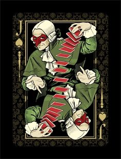 Venexiana Dark Playing Cards - Jack of Spades  | more here: http://playingcardcollector.net/2014/10/09/venexiana-dark-deck-by-half-moon-playing-cards/