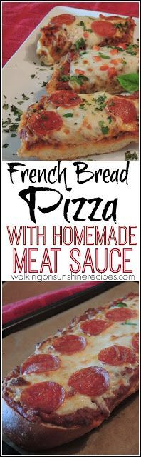 French Bread Pizza with Homemade Meat Sauce from Walking on Sunshine Recipes. An easy and inexpensive meal to make for your family tonight!