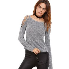 Clothes Autumn Grey - Womens Long Sleeve Tops Womens Clothing Autumn Casual Tee Shirt Grey Marled Crisscross Hollow Out Open Shoulder Tshirt Casual Sweaters, Casual Tops, Criss Cross, Womens Clothing Stores, Clothes For Women, Fashion Hashtags, Cross Shirts, Women Sleeve, Cute Casual Outfits