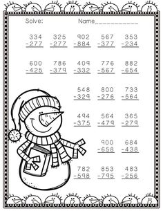 Need extra subtraction practice? These ten pages focus on three-digit subtraction. Most problems require regrouping. No prep, just print and go. There is an answer key included.  This PDF is also available in the 3.NBT.2 Three Digit Subtraction With Regrouping Bundle.
