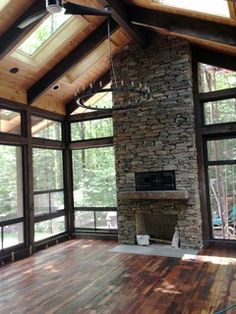 Must See Popular 3 Season Room Design Ideas, Plans & Cost Estimation # Porch Fireplace, Fireplace Outdoor, Limestone Fireplace, Black Fireplace, Small Fireplace, Four Seasons Room, Three Season Porch, Living Room New York, Three Season Room