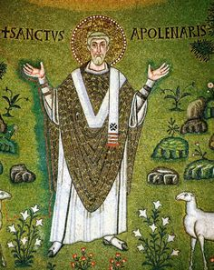 Green mosaic at Basilica of Sant' Apollinare in Classe, Ravenna, Italy