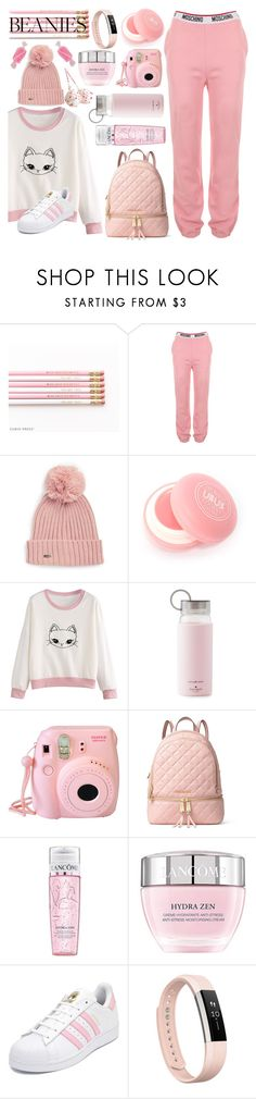 """I Wanna Sink In Pink! #pompombeanies"" by shaheenk ❤ liked on Polyvore featuring Moschino, Calvin Klein, Kate Spade, Fujifilm, MICHAEL Michael Kors, Lancôme, adidas, Fitbit, Pink and comfy"