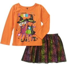 Baby Toddler Girl Halloween Long Sleeve Graphic Tee and Tutu 2-Piece Outfit Set, Size: 18 Months, Orange