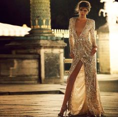 """""""Taking place in Paris, this Editorial for Hola Magazine featured our silver sequin embroidered coat-dress photographed in the lit up parisian streets as…"""" Istanbul, Zuhair Murad Dresses, Silver Sequin Dress, Parisian Wedding, Gowns Of Elegance, Coat Dress, Formal Gowns, Formal Wear, Dream Dress"""