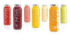 true-fruits-saft2 Juice Branding, Juice Packaging, Purple Fruit, Red Fruit, True Fruits, Bottle Design, Red Bull, Canning, Drinks