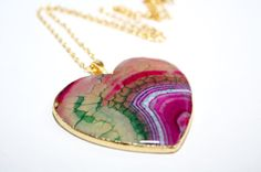 Agate Heart Necklace Pink Agate Slice by PoppyKittenDesigns