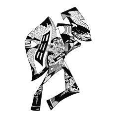 Francois Pretorius - Amalgamator (2014) #art #illustration #b&w #design #africa #fineart #zulu #warrior #fighter #shield #figure