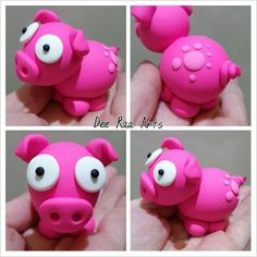 Dee Raa Arts polymer clay fimo sculpey cute kawaii animal pig farm pink spots cartoon