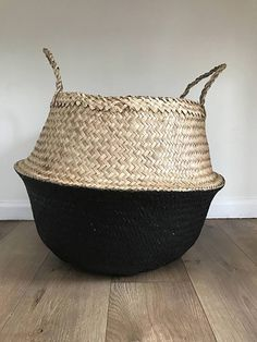 Seagrass Belly Storage 2 Tone Natural and Black, Basket Handmade, Plant Pot, Flower Pot Planter, Nursery Pots, Handle Bag
