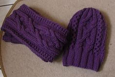 Knit Cable Hat and Scarf set / Beanie Slouchy Hat / Knit by Ifonka, $62.00