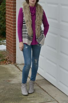 layering up for winter women's fashion with a purple cowl neck sweater, fur trimmed sweater vest, distressed skinny jeans and stone colored ankle wedge booties Fall Fashion Outfits, Fall Fashion Trends, Autumn Fashion, Women's Fashion, Sweater Vests, Sweaters, Denim And Supply, Distressed Skinny Jeans, Ralph Lauren Tops