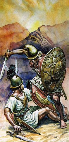 A Greek gets the better of a Roman Hastatus. This is probably from the Macedonian/Roman wars but shows the fighting style of a Hellenic infantryman opposed to a Roman. The Greek has pushed the Legionary off balance and is about to administer the final blow. Roman close tactics were to punch forward with the shield and thrust through a gap which may open up. At the battle of Pydna The Macedonians suffered horrible injuries from close quarter cut and thrust Roman swordsmen.