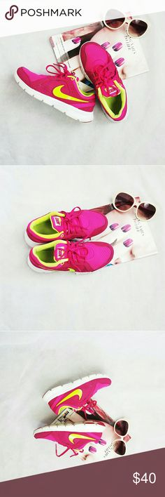NIKE PINK SHOES SIZE 5Y Super cute pink nike shoes it will fit women's size 7. This is for pink lovers. Shoes is in good condition. nike Shoes Athletic Shoes