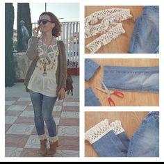 DIY jeans , jeans with tassel, como customizar unos vaqueros boho, outfit primavera