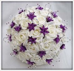 Wedding Flowers, Flowers Wedding Bouquet In Ivory Purple Silver: 11 cheap wedding flowers ideas