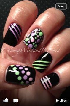 Fun black and pastel nail art
