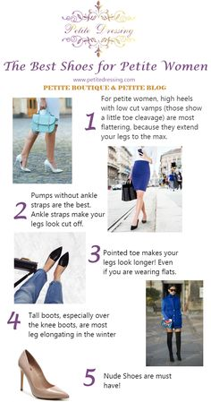 Find out what shoes make you look taller and what shoes make your legs look shorter. Visit Petite Dressing for the Petite Shop, petite celebrities fashion inspiration and petite blog.