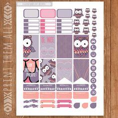 Bird OWL Planner Stickers Printable HAPPY di PrintThemAllStudio