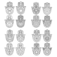 EBOOK 16 diseños de Hamsa mano de páginas de por MauindiArts