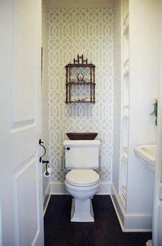 imperial trellis wallpaper, white, dark walnut floors | House of Turquoise: Whitney Cutler