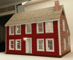Custom Wood Handcrafted New England Saltbox Colonial Dollhouse w/Electric $749.95