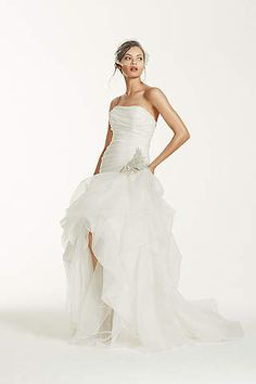 View Organza and Tulle High-Low Gown with Beaded Flower AI26010039