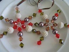Hand made star  snowflake beaded Christmas by LeeliaDesigns, $7.00