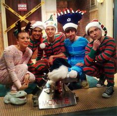 """""""first holiday with my boys, many moons ago ☺ - Kaley Cuoco"""" The cast of the Big Bang Theory is dressed up in onesies. Your argument is invalid. Big Bang Theory Funny, The Big Theory, Penny And Sheldon, Johnny Galecki, Jim Parsons, Celebs, Celebrities, Bigbang, Movies And Tv Shows"""