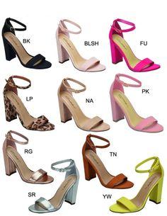 4513dde6758ba Womens Open Toe Single Sole Ankle Strap Chunky Thick Block High Heel Pump  Sandal