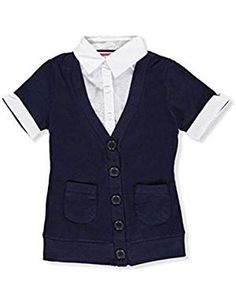 French Toast Little Girls' S/S Blouse/Cardigan Combo Top - navy, 6 Latest Fashion Trends, Fashion Brands, School Uniform Accessories, Toddler Cardigan, Polo Tees, Girls Blouse, School Uniform Girls, Little Girls, French Toast