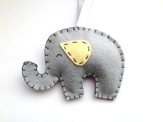 Felt Elephant Ornament, Grey and Yellow Elephant Nursery Decor, Yellow and Gray Baby Decorations, Baby Shower Gift
