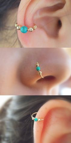 Cute Boho Ear Piercing Ideas Cartilage Conch Gold Turquoise Ring Hoop Nose Piercing - MyBodiArt.com