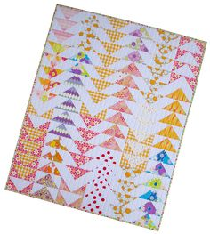 Dreamin' Vintage Flying Geese Baby Quilt by Red Pepper Quilts - Love the fabric placement/groupings on this.