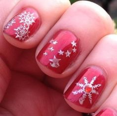 Holiday red and sparkle snowflake
