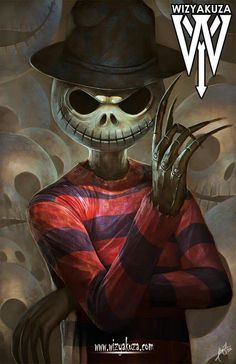 Jack skeleton as Freddy krueger artwork by wizyakuza Desenhos Tim Burton, Nightmare Before Christmas Drawings, Happy Halloween, Tim Burton Characters, Jack The Pumpkin King, Tim Burton Art, Horror Artwork, Desenho Tattoo, Creepy Art
