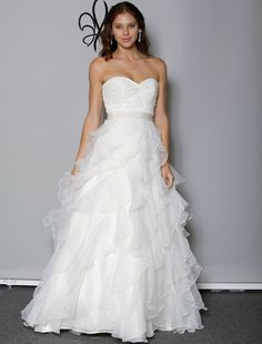 This 100% Authentic, New Anne Barge Lyric wedding dress is extremely elegant!  This gown is from the Blue Willow Bride Collection. The bias cut ruffled skirt is made from organza fabric. This gown is classic & timeless! Now up to 90% Off Retail! #annebarge