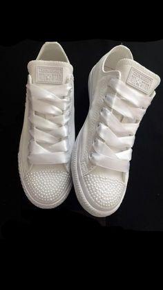 dba1aed785e4 Womens Converse All Star Mono White Pearls Sneakers Shoes wedding Bride -  Glitter Shoe Co Bride
