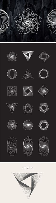 18 Geometric Line Art Vectors