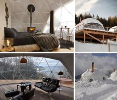 Lightweight Living: Global 4-Season Geodesic Dome Homes. From winter weather-resistant, fireplace-equipped dwellings made for snowy mountainsides to meadow-worthy, naturally-ventilated residences... and beyond.